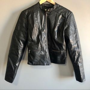 Faux Leather Motto Jacket